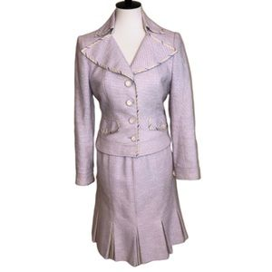 Kay Unger Lavender Striped Accent Tweed Suit 8
